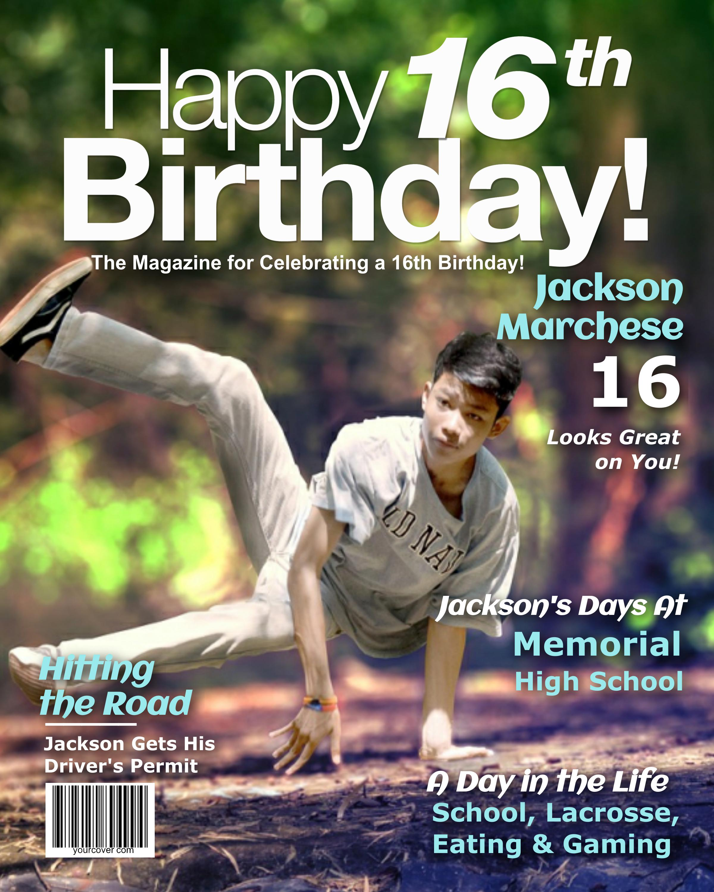 Personalized 16th Birthday Magazine Cover