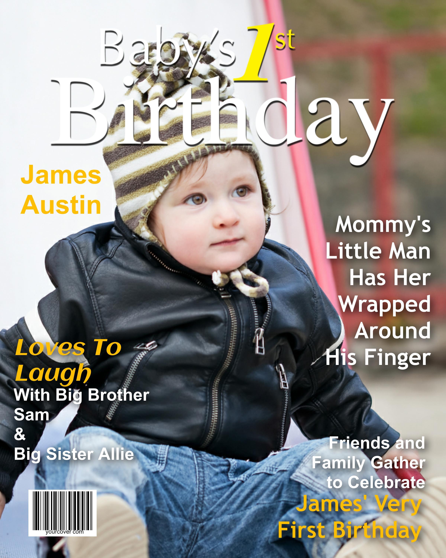 1st Birthday Magazine Cover